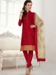 Viva N Diva Banarasi Chanderi Jacquard Embroidered Dress Material - Red - Color-Blossom-1009