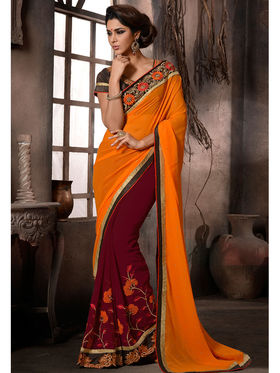 Maroon and Orange Georgette Embroidered Saree with Dupioni Blouse Piece_AY-SR-AL-2102