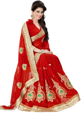 Nanda Silk Mills Red Georgette Embroidered Saree with Blouse_APS 4107