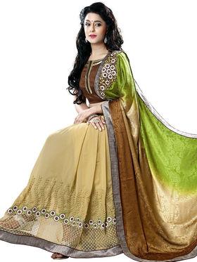 Nanda Silk Mills Brown Georgette Embroidered Saree With Blouse Piece_Gitanjli-4405