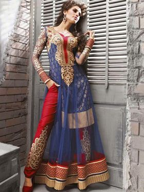 Adah Fashions Embroidered� Net Semi-Stitched Suit 100-9005