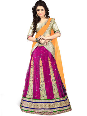 Viva N Diva Embroidered Semi Stitched Net Lehenga -10526-Ami
