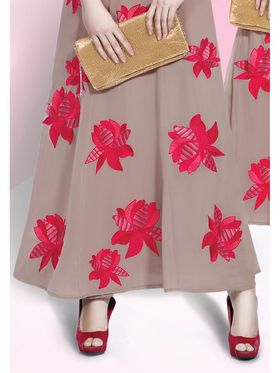 Viva N Diva Embroidered Faux Georgette Semi Stitched Salwar Suit -11083-Blush-06