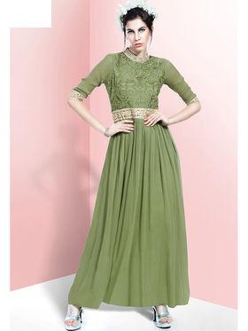 Viva N Diva Embroidered Faux Georgette Semi Stitched Salwar Suit -11084-Blush-06