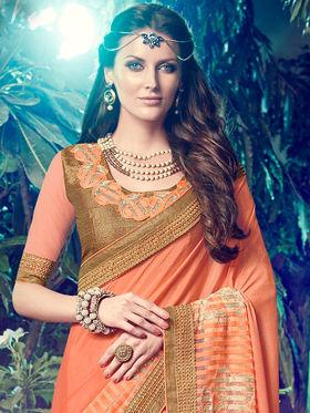 Indian Women Embroidered Chinnon Chiffon Peach Designer Saree -MG12312