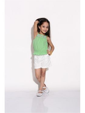ShopperTree 100% COTTON Plain Girls Top With Short - Green Above 4 Year