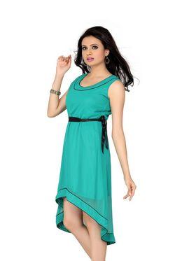 Ishin Georgette Solid Ladies Dresses - Green_INDWT-140
