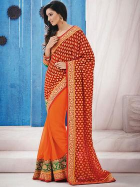 Bahubali Jacquard Embroidered Saree - Orange_GA.50103