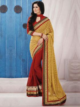 Bahubali Brasso Embroidered Saree - Yellow_GA.50105