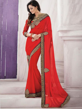 Bahubali Georgette Embroidered Saree - Red_GA.50111