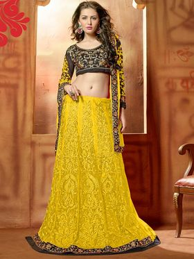 Viva N Diva Embroidered 2 in 1  Lehenga cum Anarkali Suit  - Yellow & Black