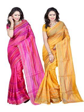 Combo Of 2 Carah Cotton Silk Plain Saree_CRH-N255