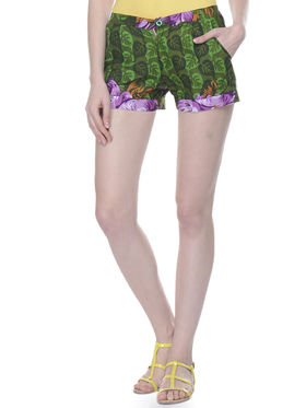 Lavennder Cotton Printed Ladies Short - Green_LW-5149