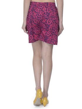 Lavennder Cotton Printed Ladies Short - Fuchsia & Blue_LW-5169