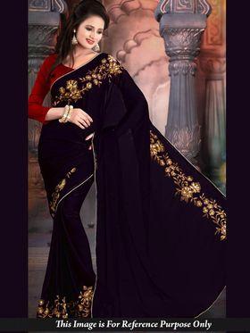 Shop Rajasthan Chiffon Embroidered Saree - Purple_SRQ2491