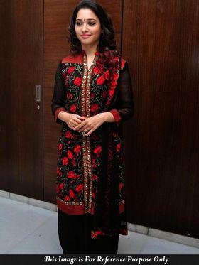 Shop Rajasthan Georgette Embroidered Semi-Stitched Dress Material - Black_SRQ2520