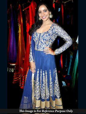 Shop Rajasthan Faux Georgette Embroidered Semi-Stitched Anarkali Suit - Blue_SRQ2479