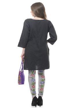Lavennder Knitted Solid Legging - Grey With Purple Bag_LZB-52341