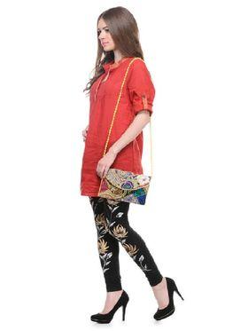 Lavennder Knitted Solid Legging - Black With Golden Bag_LZB-52345