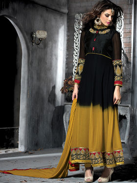 Viva N Diva Semi Georgette Embroidered Salwar Suit - Mustard & Black_Cosmos-13009