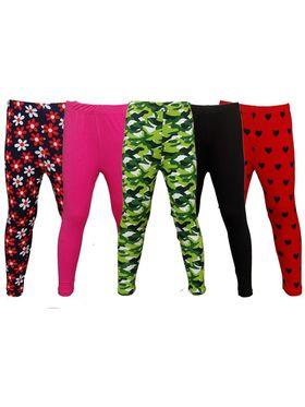 Pack of 5 Little Star Girl's Multicolor Leggings - PO5L_130