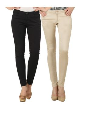 Pack of 2 Women Slim Fit Cotton Lycra Stretchable Trouser - TGLCH-15