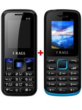 Combo of I KALL K11 Dual SIM Mobile (Blue)+ I KALL K16 Dual SIM Mobile Phone(Black)