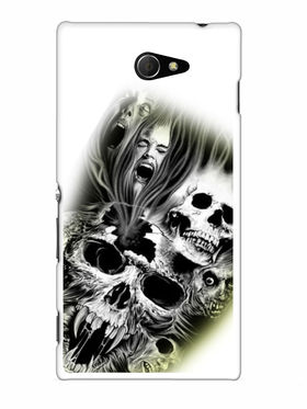 Snooky Designer Print Hard Back Case Cover For Sony Xperia M2 - White