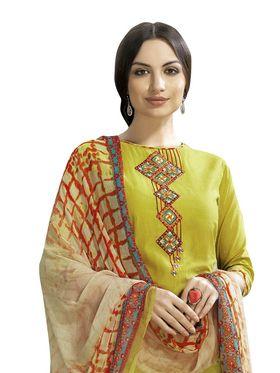 Viva N Diva Printed Satin Cotton Semi Stitched Suit -vnd12