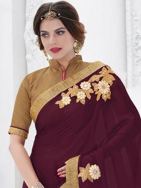 Indian Women Embroidered Satin Chiffon Maroon Designer Saree -GA20308