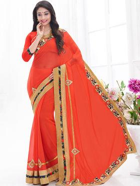 Indian Women Embroidered Chinon Orange Designer Saree -GA20314