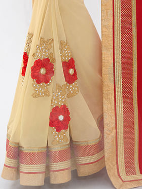 Indian Women Embroidered Satin Red & Beige Designer Saree -GA20322