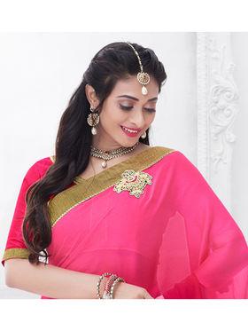 Indian Women Embroidered Moss Chiffon Pink Designer Saree -GA20323