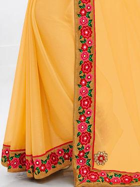 Indian Women Embroidered Moss Chiffon Yellow Designer Saree -GA20328