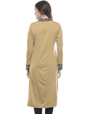 Lavennder Designer Tan Solid Fleece Kurti -2972