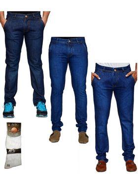 Pack of 3 Denim Cafe Regular Fit Cotton Jeans For Men_12448636