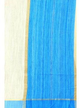 Zoom Fabrics Plain Cotton Silk Beige & Blue Saree -4051B