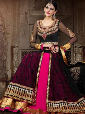 Adah Fashions Embroidered  Premium Georgette With Net Brasso Layer Semi-Stitched Suit 561-1002