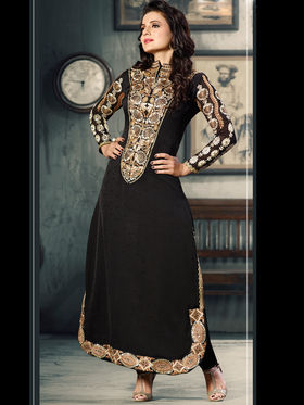 Adah Fashions Jacquard Silk Embroidered Semi-Stitched Salwar Suit - Black