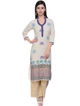 Lavennder Khaadi Printed Off White Long Straight Kurta - 623559