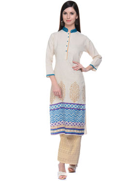 Lavennder Khadi Hand Blocked Kurti -623562