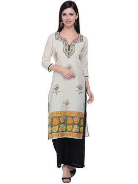 Lavennder Khadi Hand Blocked Kurti -623563