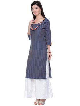 Lavennder Khaadi Plain Navy Blue Long Straight Kurta - 623572