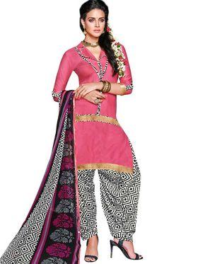 Adah Cotton Plain Dress Material -Pink -744-8016