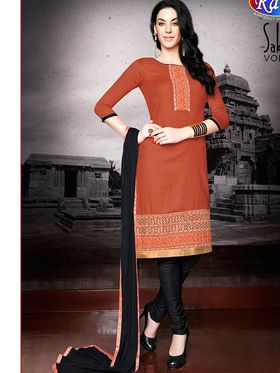 Adah Fashions Embroidered  Cotton Satin Semi-Stitched Suit 755-106