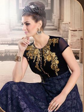 Adah Fashions Embroidered Raschel Net & Velvet Semi-Stitched Suit 764-4501