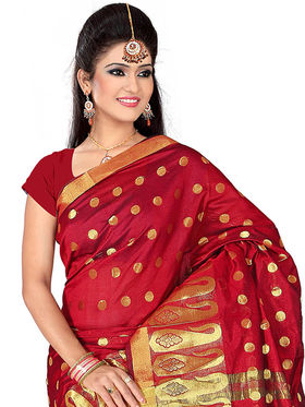 Adah Fashions Red South Silk Saree -888-107