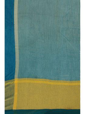 Turquoise Cotton Saree Zari Border Saree with Blouse Piece_ADM-SR-SNH3-10061