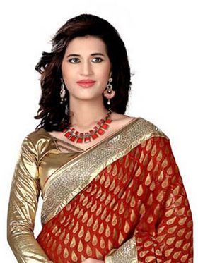 Khushali Fashion Embroidered Jacquard Half & Half Saree_KF01