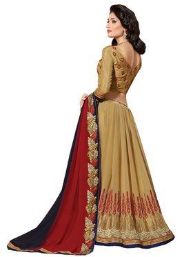 Khushali Fashion Embroidered Georgette Half & Half Saree(Beige,Navy Blue,Red)_ASFPVA359